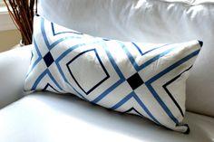 Victoria Hagan Diamond Lights  Decorative Pillow by Modern Coastal Interiors. Modern, Geometric, Blue and White Coastal Pillow.