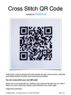 How to Cross Stitch a QR Code – a Sewing Project by angelab.me