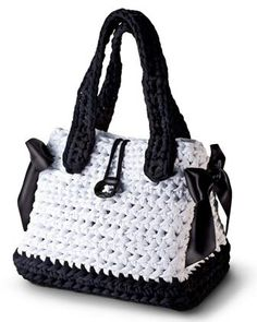Crochet black and white bag