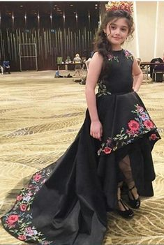 Kids frocks - New High Low Black Flower Girl Dresses Puffy A Line ONeck Appliques Girls Prom Party Dress Pageant Gowns Kids Frocks, Frocks For Girls, Dresses Kids Girl, Kids Outfits, Flower Girl Dresses, Flower Girls, Frock Design, Prom Party Dresses, Pageant Dresses