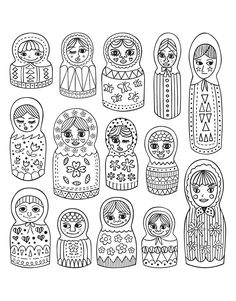 Free coloring page coloring-adult-cute-russian-dolls. Cute Russian dolls, different styles (Source : 123rf.com)