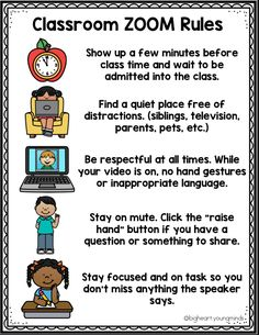 This poster will help maintain structure for students while setting expectations when using Zoom for distance learning. E Learning, Learning Resources, Social Work Activities, Physical Activities For Kids, Icebreaker Activities, Blended Learning, Social Emotional Learning, Camping Activities, Classroom Activities