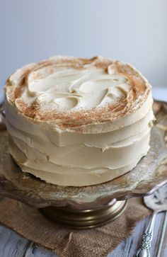 Buttermilk Spice Layer Cake with Brown Sugar Cream Cheese Frosting (note to self: 1 stick of butter = 4oz)