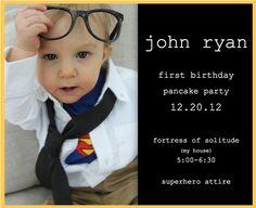 superman birthday party.  clark kent baby.  superman invitation.  superhero party.  eh photography