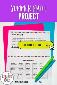 Are your students ready for Summer? Send home this fun Summer Math Packet Project with your kids. Students will engage in math puzzles, printables, and worksheets to keep up their math skills. Perfect for grades 2, 3, 4, 5, 6, 7. Grab your grade level Summer Math Activities today! Problem Solving Activities, Math Activities, Math Skills, Math Lessons, Dear Students, Math Projects, Math Notebooks, 4th Grade Math, Elementary Math