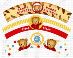 Daniel Tiger Cupcake Wrapper, Daniel Tiger Birthday Supplies, Daniel Party Invite Printables
