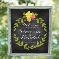 Personalized Chalkboard Wedding Welcome Sign by TheFindSac