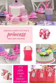 Princess party, princess cake, princess goodies, and everything pink for a royal birthday.