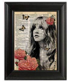 Stevie Nicks GYPSY Fleetwood Mac ORIGINAL Dictionary Art Print Poster Illustration Antique English Book Page GICLEE 5x7, 8x10