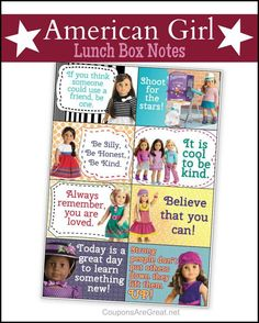 American Girl Printable Lunch Notes - Inspiration for Kids American Girl Store, American Girl Birthday, American Girl Parties, American Girl Crafts, Lunch Box Notes, Journey Girls, Cute Messages, Sewing Patterns Girls, Inspiration For Kids