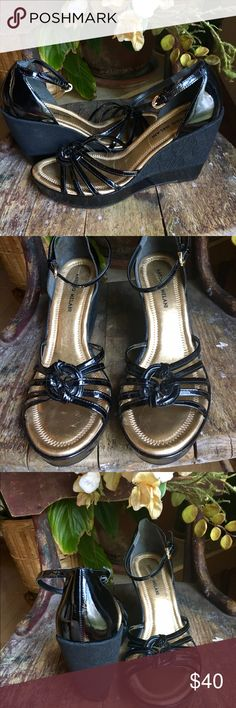 """Antonio Melani wedge shoes. Beautiful combination of patent leather and fabric  back heel height is 3"""" with a platform of approx 1"""".  Adjustable ankle strap.  Reasonable offers accepted and bundle discounts available.  Nonsmoking home. ANTONIO MELANI Shoes"""