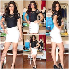 Black lace bodysuit with white bandage skirt. Shop online at www.geidyscloset@me.com Follow us on Instagram  Geidysclosetboutique
