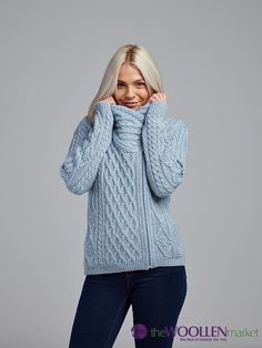 Must Have Aran Biker Jacket - Available right now online and in stores :) Baby Blue is our favourite! Biker Style, Your Best Friend, Baby Blue, Best Sellers, Must Haves, Pattern Design, Turtle Neck, Zip, Knitting