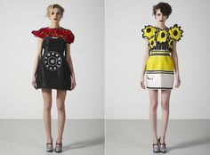 """Lobster telephone dress based on Salvador Dali's artwork & """"Sunflower Dress"""" after Vincent Van Gogh"""