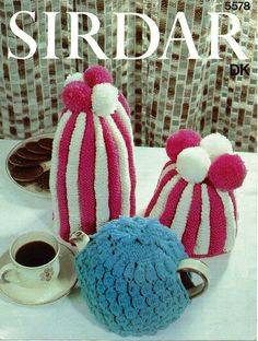 Vintage tea and coffee cosy tea pot coffee pot cosy cozy traditional pompom tea cosy pattern Knit Pattern PDF 896 from WonkyZebra Sirdar Knitting Patterns, Tea Cosy Knitting Pattern, Tea Cosy Pattern, Knit Patterns, Vintage Patterns, Sewing Patterns, Vintage Knitting, Vintage Sewing, Double Knitting
