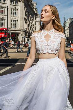 riki dalal fall 2017 bridal cap sleeves off the shoulder high neck heavily embellished bodice crop top tulle romantic short wedding dress (1903) zv