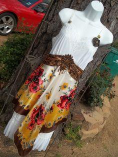 Upcycled Slip Dress Altered Refashioned by Annierosevintage. , via Etsy.