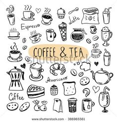Cute doodle coffee shop icons. Vector outline coffee and tea drawings for cafe menu