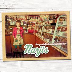 vintage geboortekaartje snoep winkel   design op maat