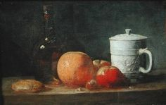 Jean-Baptiste Siméon Chardin - Still Life with Fruit and Wine Bottle