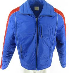 f11311deb85 Vintage 80s Roffe Ski Jacket Mens L Puffy Retro Snowboard Blue Snowboard