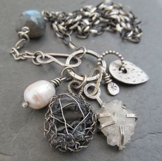 Sterling Charm Necklace Wire Wrapped gemstone Cluster Trinket B artdi on etsy
