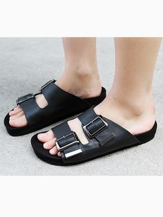 Double Buckle Strap Flat Sandals in Black