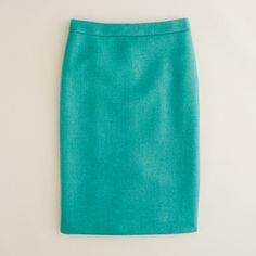"To Do: Master the pencil skirt. J Crew describes this double-serge wool thusly: The double-serge wool lends the sleek silhouette a weightier feel...With a thinner waistband for an even more comfortable fit. Sits at waist. Back zip. Back vents. Fully lined. 23 1/2"" long."