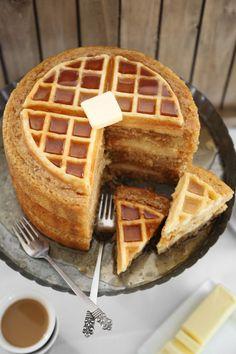 Maple Belgian Waffle Cake - 21 Insanely Decadent Dessert Mash-Ups Creative Desserts, Creative Cakes, Just Desserts, Waffle Desserts, Creative Ideas, Food Cakes, Cupcake Cakes, Cupcakes, Cake Recipes