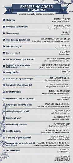 Infographic: how to express anger in Japanese