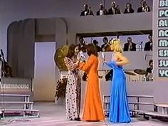 Eurovision Song Contest 1973 : winner Anne Marie David with Vicky Leandros and Helga Guitton