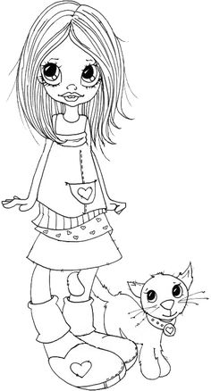 Becca and Bo Coloring Pages For Girls, Coloring Book Pages, Coloring Sheets, Copics, Digital Stamps, Printable Coloring, Free Coloring, Big Eyes, Prints