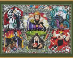 Disney, Cruella de Vil, Maleficent, Queen of Hearts, Ursula. Cross Stitch Pattern. PDF Files. Instant Download