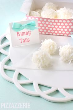It looks like little Peter cottontail lost his (you guessed it) tail! These bite-sized truffles covered in coconut are a great (and light) after-dinner treat.