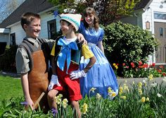 Aidan Kennedy (left) plays Geppetto, while Miles Reed plays Pinocchio and Holly Bradbury portrays the Blue Fairy in Xtreme Theatre's production of My Son Pinocchio Jr.