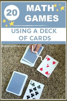 A collection of dozens of the best math games using a deck of cards - great for Kindergarten through high school! Organized by math topic to help you find what you need! #mathgames #mathcardgames #math #homeschool Easy Math Games, Math Card Games, Kindergarten Math Games, Card Games For Kids, Math For Kids, Math Classroom, Teaching Math, Math Games For Preschoolers, Math Activities For Kids