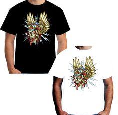 Velocitee Mens Angel Skull Racer T Shirt Tattoo Biker Jerry Hardy W12813 #Unbranded
