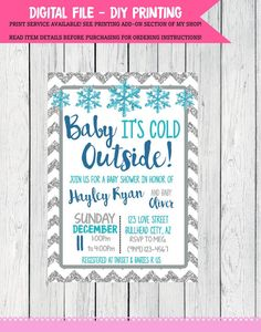 Baby It's Cold Outside Baby Shower Invite-Silver