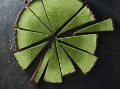 Matcha coconut custard tart with chocolate crust