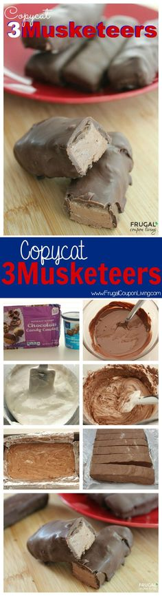 Copycat 3 Musketeers 2 Ingredients - Candy - Ideas of Candy - One for all and all for one! The three musketeers When you can't have just one make these Homemade 3 Musketeers Bars on Frugal Coupon Living. Chocolates, Candy Recipes, Sweet Recipes, Köstliche Desserts, Dessert Recipes, Lunch Recipes, Yummy Treats, Sweet Treats, Home Made Candy