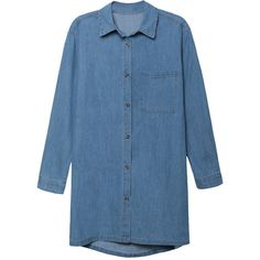 Turndown Collar plain Single Breasted Denim Blouse (€22) ❤ liked on Polyvore featuring tops, blouses, collar top, denim top, polo tops, pattern blouses and blue print top