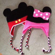 Mickey and Minnie crochet hats. Disney