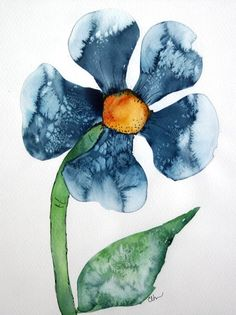 I like this painting because of the way the artist used salt to make a pattern in the petals. There is negative space all around the flower. What else is interesting about this painting?