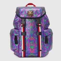 Multicolor brocade backpack