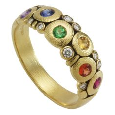 """In love with this ring I just got from my amazing hubby: Alex Sepkus 18k Yellow Gold """"Rainbow Mix"""" Candy Ring Featuring Natural Color Sapphires, Tsavorites and White Diamonds"""