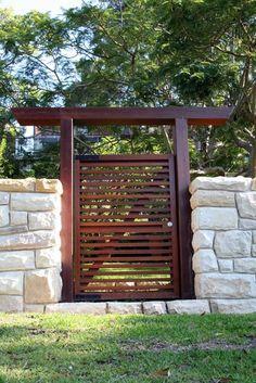 Modern gate- wood & stone