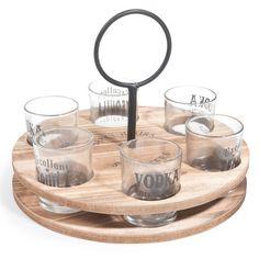 6 vasos de cristal + soporte de madera HAPPY SHOOTERS