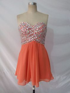 Short Beaded A line Coral Homecoming Dress