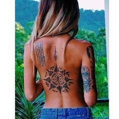 Madala Like Spiritual Spine Tattoo in Black