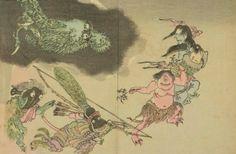Hyakki Yagyō (百鬼夜行); Night Parade of One Hundred Demons (Edo period woodcut details), 18th century, Japan.